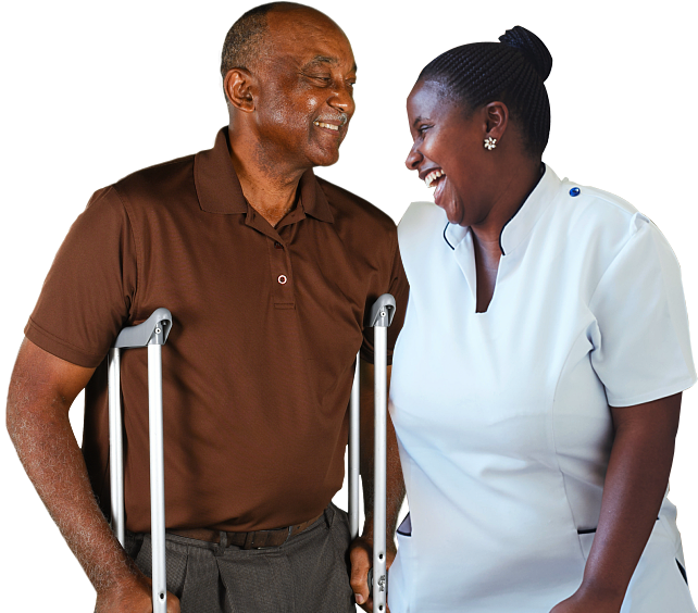 caregiver and her patient smiling